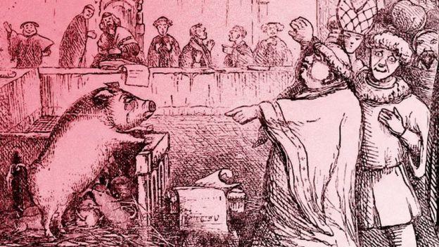 """Ilustración del """"Juicio de una cerda y su cría en Lavegny"""", del """"Libro de los días"""", (1863)."""