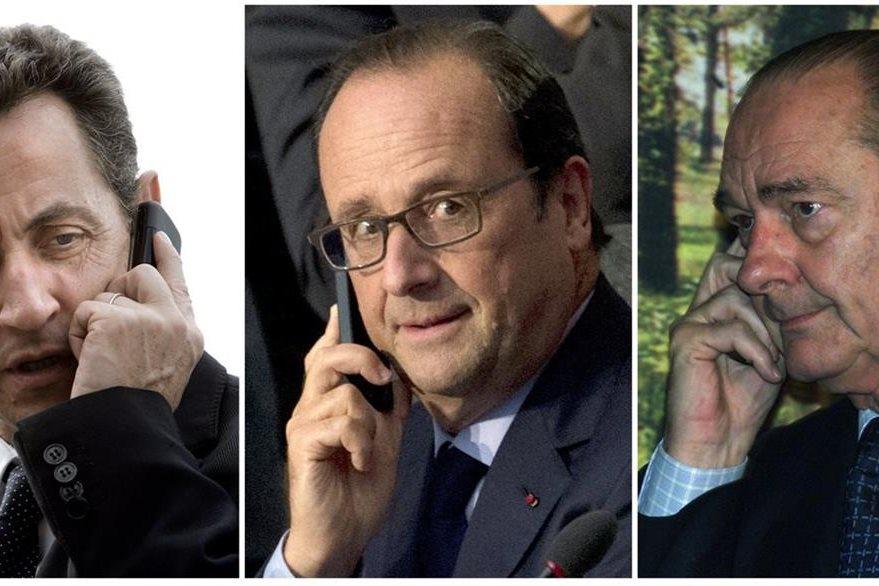 Nicolás Sarkozy, Francois Hollande y  Jacques Chirac, mandatarios franceses que fueron espiados por EE. UU. (Foto Prensa Libre: AFP).