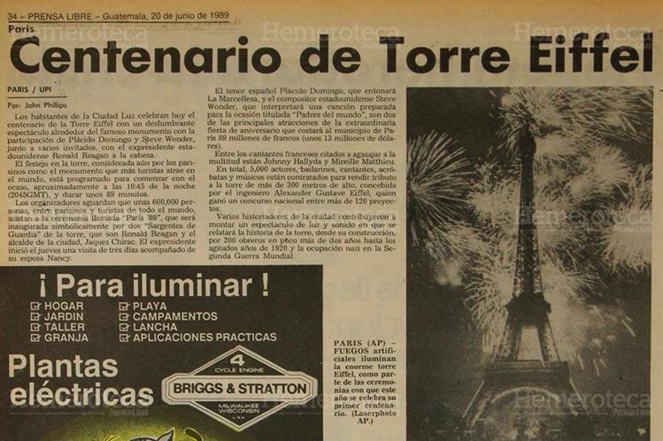 Prensa Libre publicó el 19 de junio 1989 en la Sección Internacional la clausura de los festejos del centenario de la Torre Eiffel de París, Francia. La celebración se extendió hasta fin de año. (Foto: Hemeroteca PL)