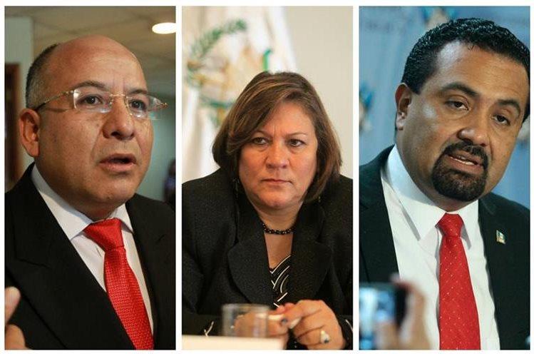 Luis Chávez -izq-, Mirza Arreaga y Mario Yanes, diputados de Líder que enfrentan antejuicio. (Foto Prensa Libre: Hemeroteca PL)
