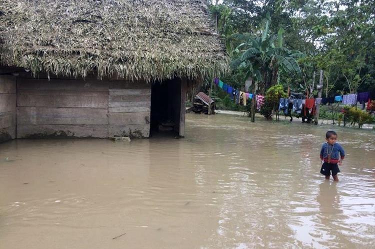 Varias familias de Las Mercedez, Chisec, fueron afectados por el desborde del río Chixoy. (Foto Prensa Libre: Eduardo Sam)