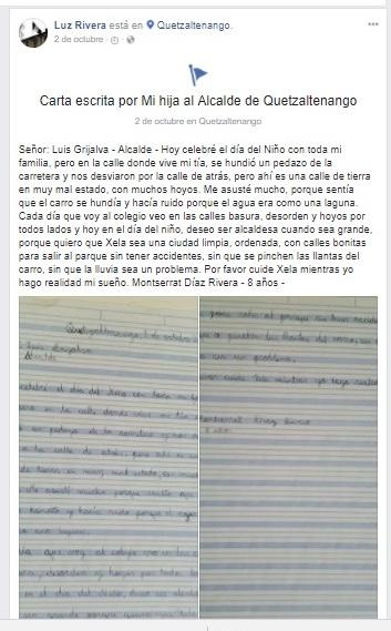 La madre de la menor publicó la carta en las redes sociales, donde se hizo viral. (Foto Prensa Libre: María José Longo)