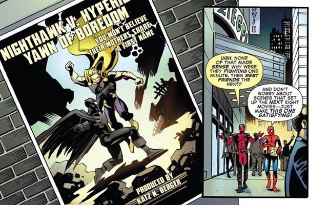 Los personajes Spider-Man y Deadpool se burlan de Batman y Superman. (Foto Prensa Libre: Marvel)