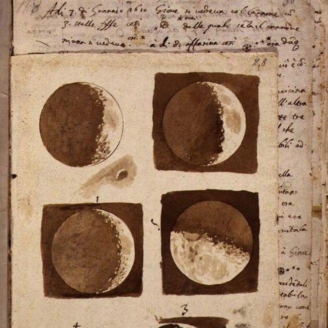 Galileo publicó sus dibujos de la Luna en 1610 en su obra Siderus Nuncius o Mensajero Sideral. Foto: gentileza ESA