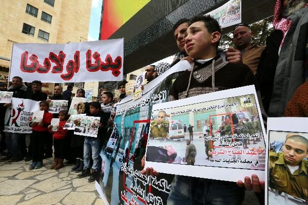 Protesta contra Elor Azaría, que mató de un balazo en la cabeza a un palestino herido. (EFE).