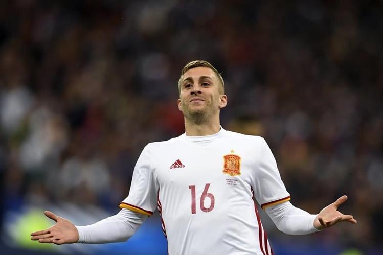 Gerard Deulofeu fue fundamental en la victoria en París de España contra Francia. (Foto Prensa Libre: AFP).