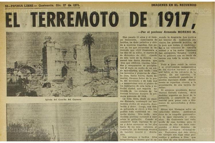 Pagina de Prensa Libre del 27/12/1972 la cual rememora el trágico terremoto de 1917 que devastó a Guatemala. (Foto: Hemeroteca PL)