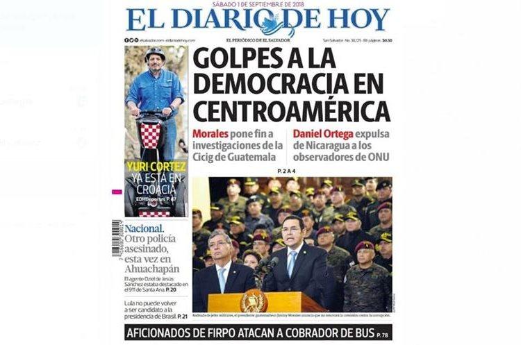 """El Diario de Hoy, de El Salvador, calificó la acción de Jimmy Morales como un """"golpe a la democracia"""". (Foto Prenas Libre: El Diario de Hoy)"""