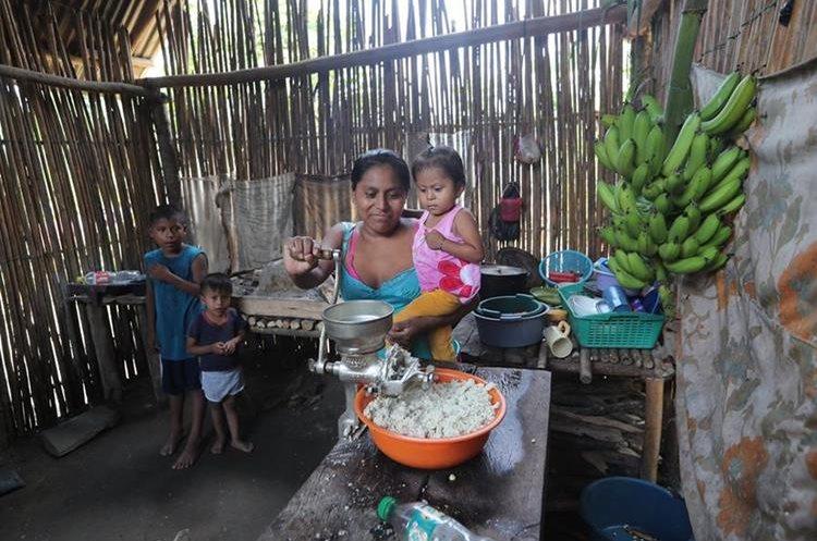 Ana Griselda Rach y sus hijos viven en condiciones de pobreza el caserío Lagartos, Panzós. (Foto Prensa Libre: Érick Ávila)