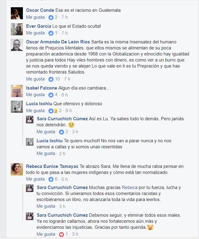 Comentarios y respuestas de Sara Curruchich en su publicación en Facebook. (Foto Prensa Libre: Facebook).