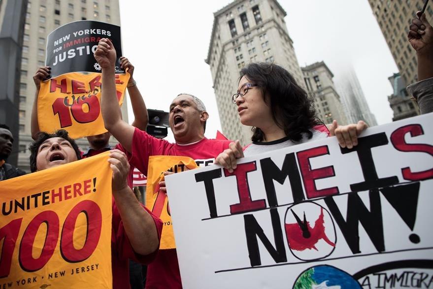 Una protesta pro inmigrantes en Nueva York, el pasado 28 de junio. (Foto Prensa Libre: AFP).