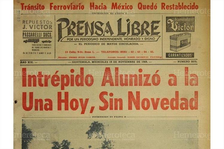 19/11/1969 Portada de Prensa Libre sobre alunizaje del Intrépido. (Foto: Hemeroteca PL)