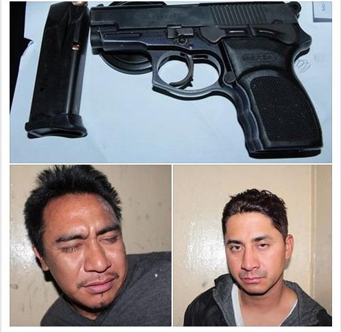 William Haroldo Vásquez González y José Oliverio Hernández fueron detenidos con un arma de fuego ilegal. (Foto Prensa Libre: PNC)