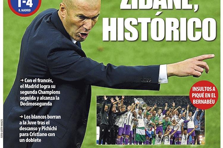 Zidane será la primera plana del Mundo Deportivo el domingo. (Foto Prensa Libre: Mundo Deportivo)