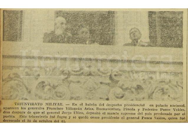 Fotografía de la junta militar que tomó el poder tras la renuncia de Jorge Ubico el 1 de julio de 1944, publicada en Prensa Libre el 20 de octubre de 1964. (Foto: Hemeroteca PL)