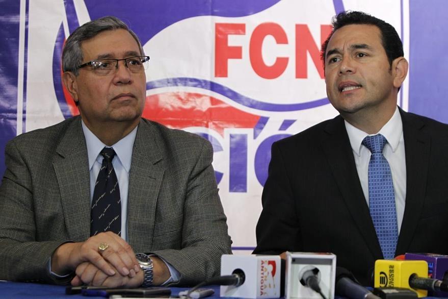 Jafet Cabrera y Jimmy Morales, atribuyen las intimidaciones al rápido ascendo en las encuestas electorales. (Foto Prensa Libre: Paulo Raquec)