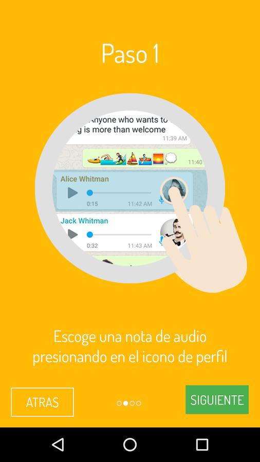 Para transcribir sus notas de voz debe seleccionarlas dentro de WhatsApp. (Foto Prensa Libre: Google Play).