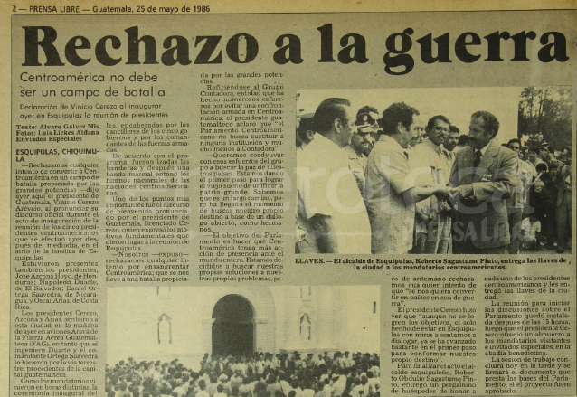 Nota informando sobre los detalles del acto inaugural de la Reunión de Presidentes en Esquipulas el 24 de mayo de 1986. (Foto: Hemeroteca PL)