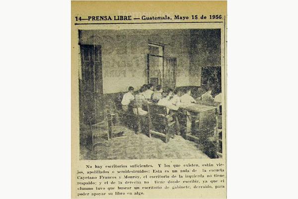 Escuela Cayetano Francos y Monroy, en 1956, en Guatemala. (Foto: Hemeroteca Pl)