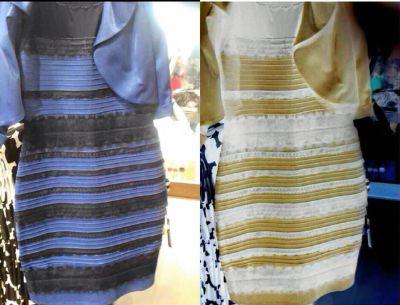 El vestido original (izq), colores invertidos (der). Foto Prensa Libre: Twitter