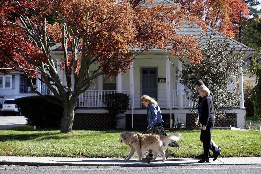 Audrey Stone camina junto a Figo, el perro que le salvó la vida. (Foto Prensa Libre: AP).