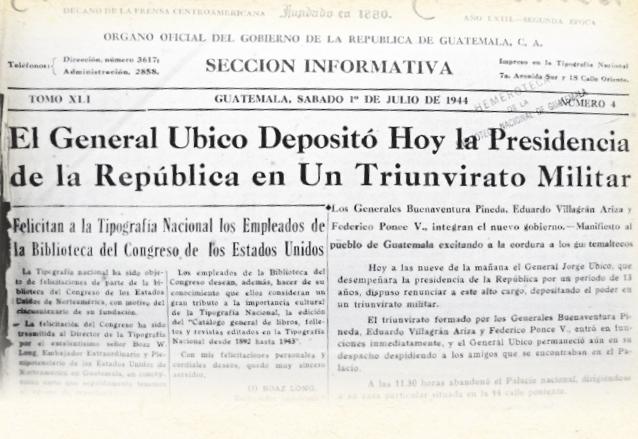 Portada del Diario de Centro América del 1 de julio de 1944 informando sobre la renuncia de Ubico. (Foto: Hemeroteca PL)