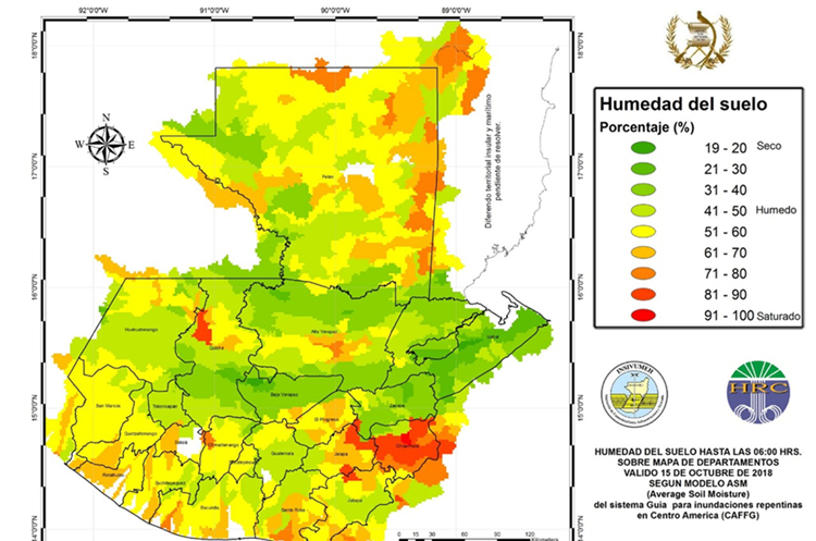 Este es el mapa de humedad que reporta el Insivumeh.