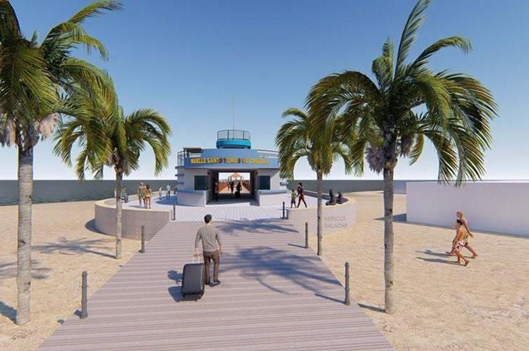 Diseño del muelle comercial turistico de Santo Tomás de Castilla que será construido en la playa pública. (Foto Prensa Libre: Dony Stewart)