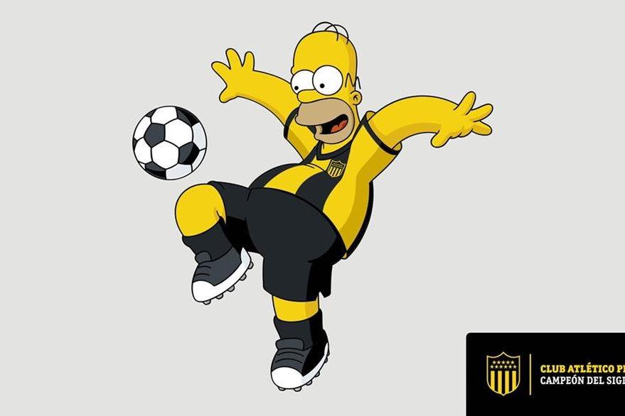 Homero Simpson viste la camisola del Peñarol, luego de un acuerdo con la cadena. (Foto Prensa Libre: EFE)