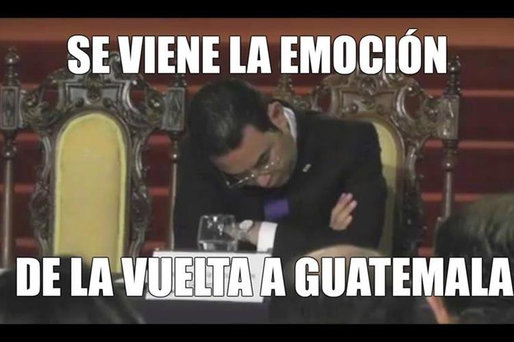 Ni el Presidente de la República, Jimmy Morales, se salvó de las burlas en redes sociales. (Foto Prensa Libre: Redes Sociales)