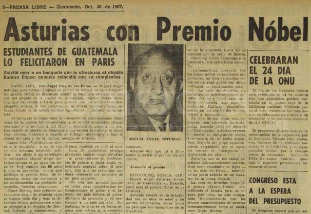 Nota informativa del 20 de octubre de 1967 dando a conocer la designación de Miguel Ángel Asturias como Premio Nobel de Literatura y sus impresiones desde París, Francia. (Foto: Hemeroteca PL)