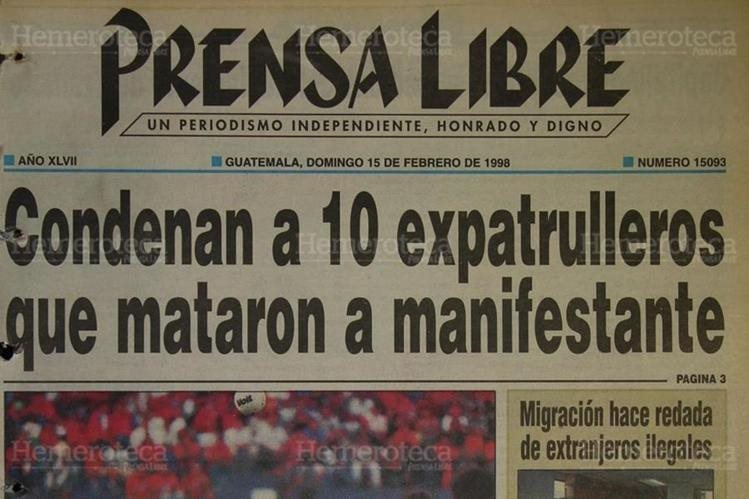 Portada de Prensa Libre del 15/02/1998. (Foto: Hemeroteca PL).