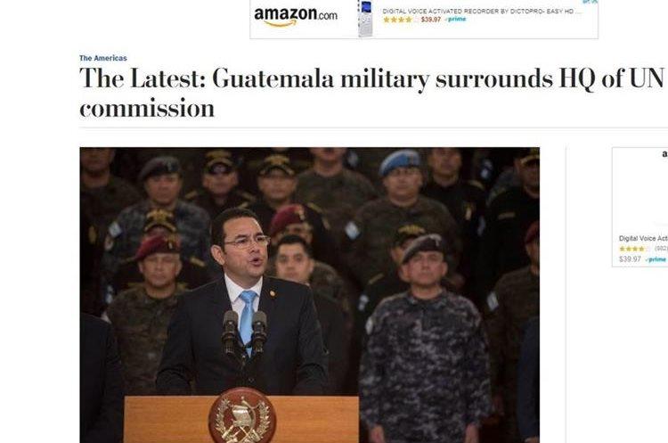 """""""El ejército guatemalteco rodea sede de la ONU"""", resalta The Washington Post."""