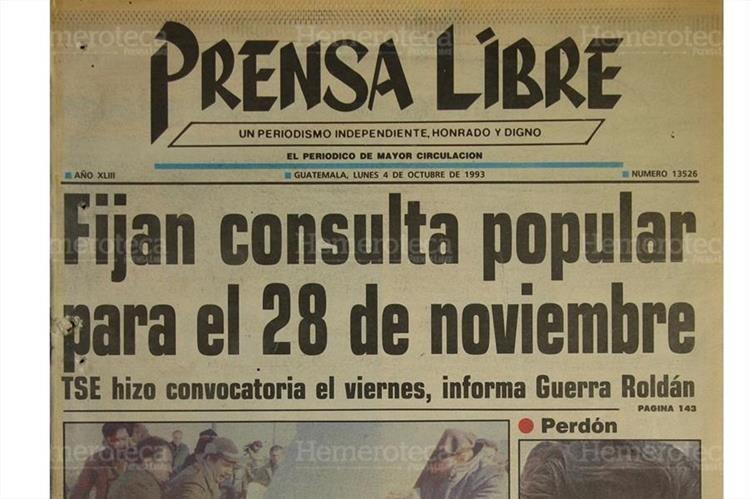 Portada del 4/10/1993 el Tribunal Supremo Electoral TSE, daba la fecha para que se realizara la consulta popular. (Foto: Hemeroteca PL)