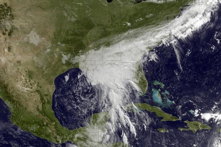 Vista de Cindy sobre el Golfo de México. (Foto Prensa Libre: AP)