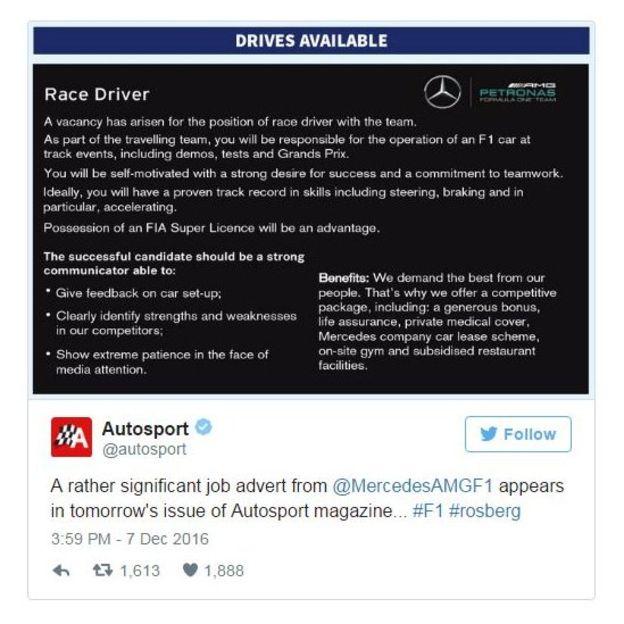 El anuncio publicado en la revista británica Autosport. (Twitter)