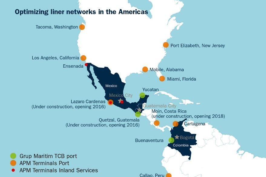 Gráfica muestra las terminales de contenedores que opera AMP a través sus filiales en América. (Foto Prensa Libre: APM Terminals)