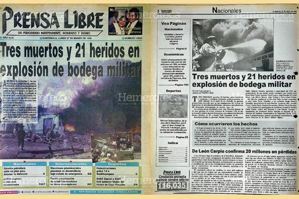 Explosión en bodega militar. Foto: Hemeroteca PL