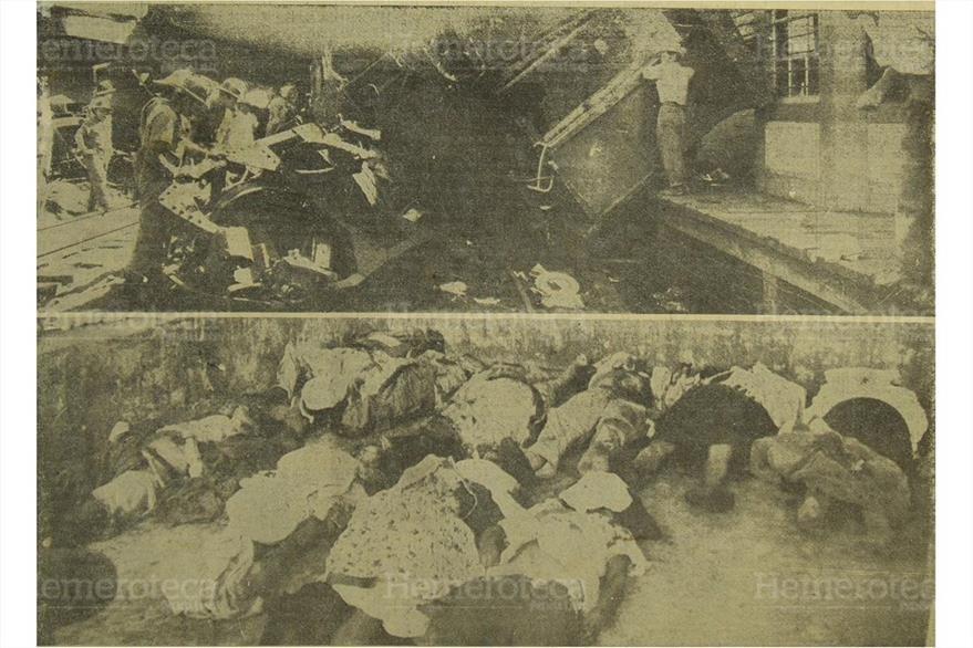 Víctimas mortales de la colisión de dos trenes en Estuintla, el 20/12/1962. (Foto: Hemeroteca PL)