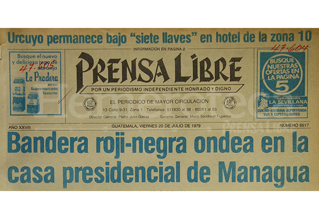 Titular de Prensa Libre del 20 de julio de 1979 informa sobre el triunfo del FSLN en Nicaragua. (Foto: Hemeroteca PL)