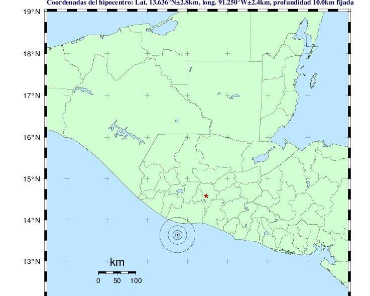 Personal del Instituto Nacional de Sismología, Vulcanología, Meteorología e Hidrología informó que el temblor fue de magnitud 4.7. (Foto Prensa Libre: Insivumeh)