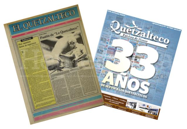 Primera portada de elQuetzalteco del 12/5/1984 y la más reciente, del 11/5/2017. (Foto: Hemeroteca PL)