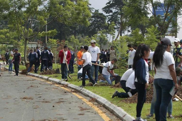 Estudiantes de varios establecimientos educativos participan en la jornada de reforestación en el bulevar Juan Pablo II, zona 13. (Foto Prensa Libre: Carlos Hernández Ovalle)