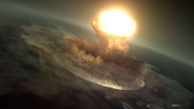 El impacto alcanzó la energía equivalente a 10 mil millones de bombas de Hiroshima (ilustración) BARCROFT PODUCTIONS/BBC