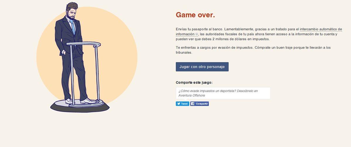 """El juego se pierde cuando """"descubren"""" al jugador en su plan para esconder dinero y evitar el pago de impuestos. (Foto: Hemeroteca PL)."""