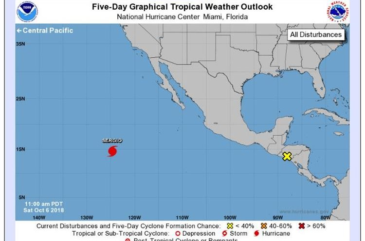 El Centro Nacional de Huracanes de EE.UU. reporta un sistema de baja presión sobre El Salvador lo que está produciendo una gran área de lluvias y tormentas eléctricas en la costa de Guatemala. (Foto Prensa Libre: CNH)