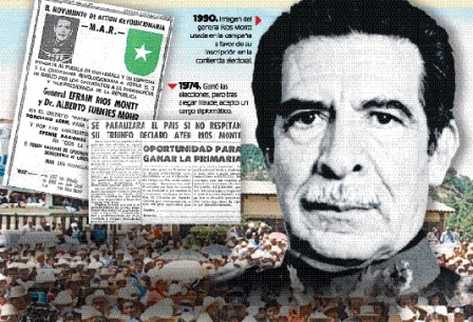 Los mítines del general Efraín Ríos Montt en el 2003 tenían un tono  confrontativo. No obstante, los casos de corrupción del gobierno del FRG  y la represión organizada entre 1982 y 1983, cuando fue gobernante de  facto, le ganaron momentos acres.