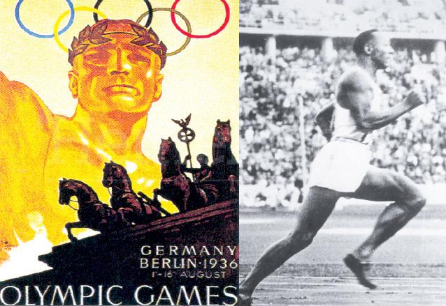 Afiches de los Juegos Olímpicos de Berlín 1936 y el atleta Jesse Owens, ganador de cuatro medallas de oro. (Foto: Hemeroteca PL)