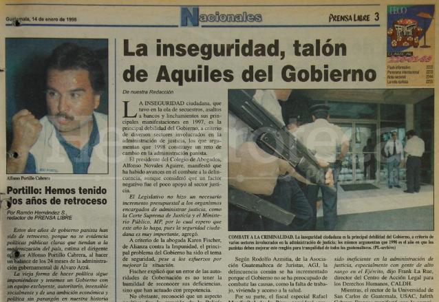 Nota sobre la inseguridad en el país y la debilidad del gobierno de Álvaro Arzú. Nota del 14 de enero de 1998. (Foto: Hemeroteca PL)