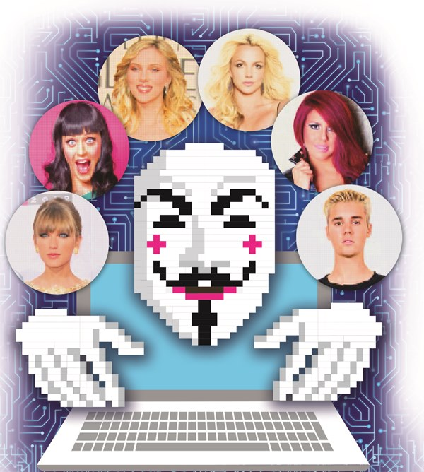 Famosos como Taylor Swift, Katy Perry, Scarlett Johansson, Britney Spears, Justin Bieber y la guatemalteca Fabiola Roudha han sido víctimas de ciberataques. (Ilustración Prensa Libre: Kevin Ramírez)